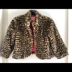 FOREVER 21 Faux Fur Leopard Print Jacket, Large